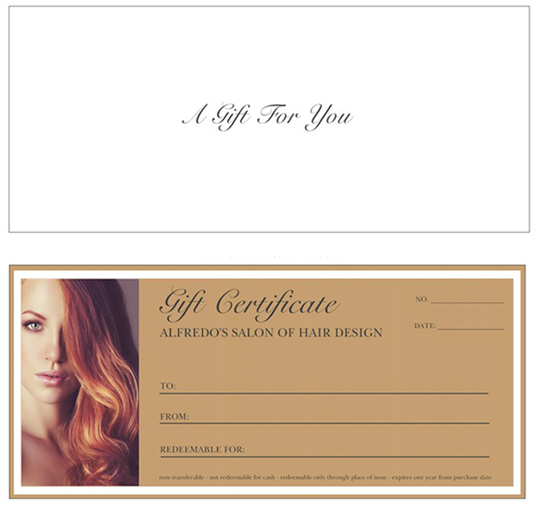 Gift Certificate Showing Red Haired Woman